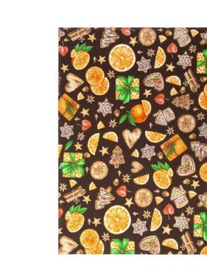 "Полотенце кухонное из рогожки 50x70 ""Цитрус коричневый"" АртДизайн"